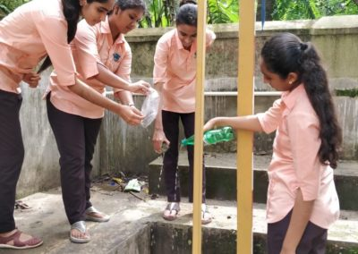 Mosquito larvae controlling/killing activty by the youth red cross unit